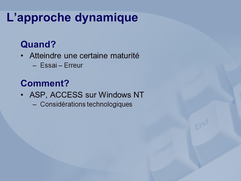 Quand? Atteindre une certaine maturité –Essai – ErreurComment? ASP, ACCESS sur Windows NT –Considérations technologiques Lapproche dynamique
