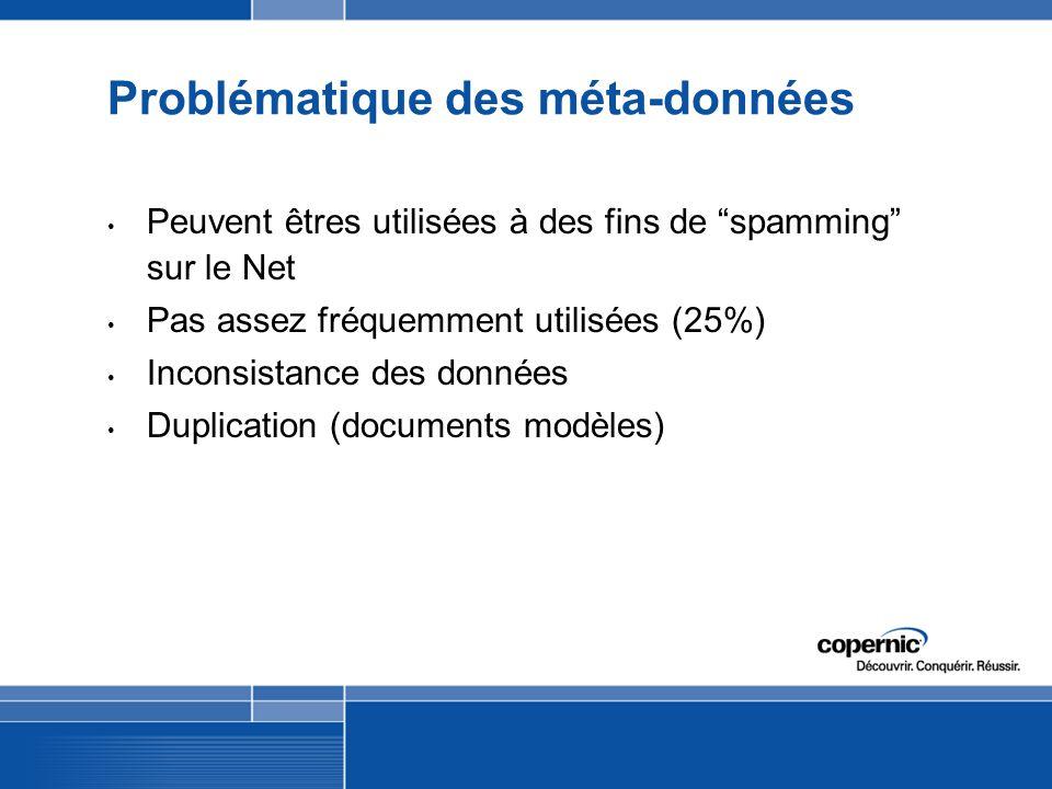Problématique des méta-données Peuvent êtres utilisées à des fins de spamming sur le Net Pas assez fréquemment utilisées (25%) Inconsistance des données Duplication (documents modèles)