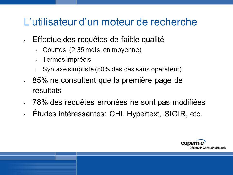 Lutilisateur dun moteur de recherche Effectue des requêtes de faible qualité Courtes (2,35 mots, en moyenne) Termes imprécis Syntaxe simpliste (80% des cas sans opérateur) 85% ne consultent que la première page de résultats 78% des requêtes erronées ne sont pas modifiées Études intéressantes: CHI, Hypertext, SIGIR, etc.