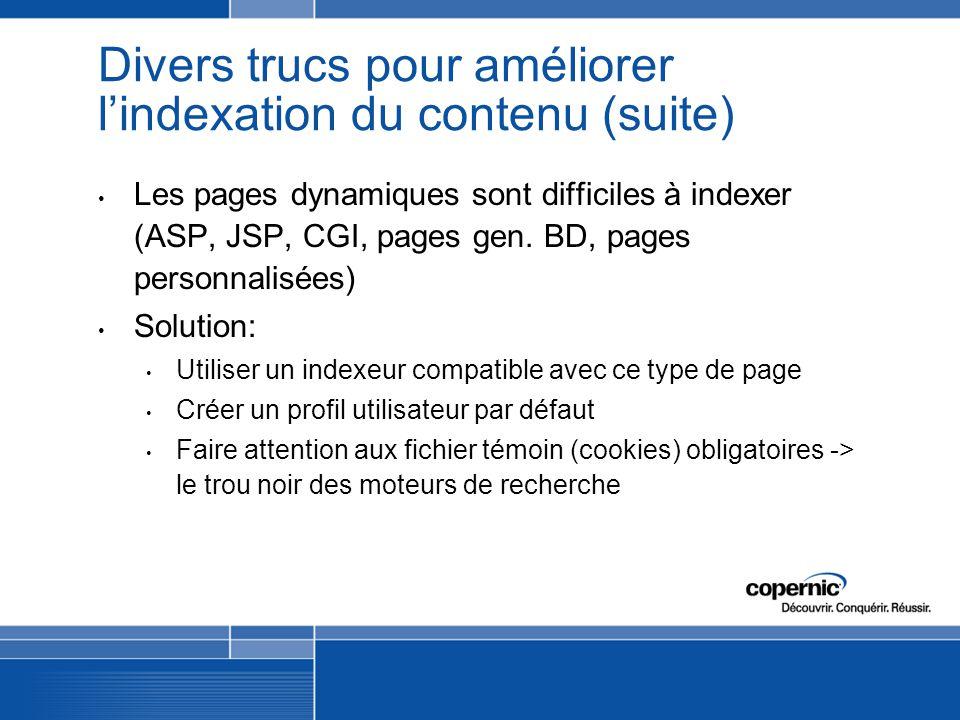 Divers trucs pour améliorer lindexation du contenu (suite) Les pages dynamiques sont difficiles à indexer (ASP, JSP, CGI, pages gen.