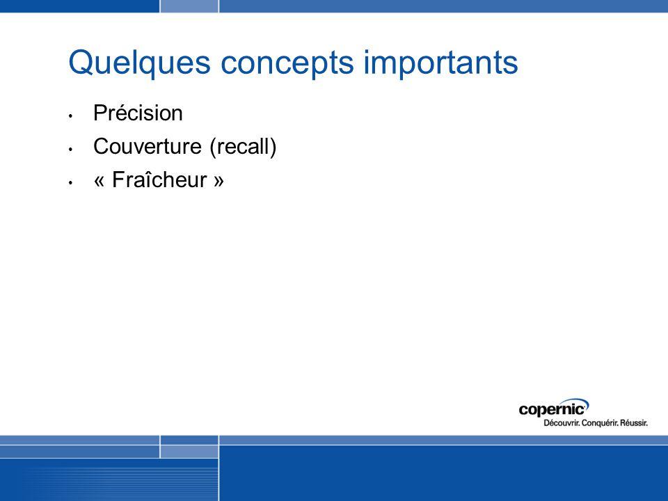 Quelques concepts importants Précision Couverture (recall) « Fraîcheur »