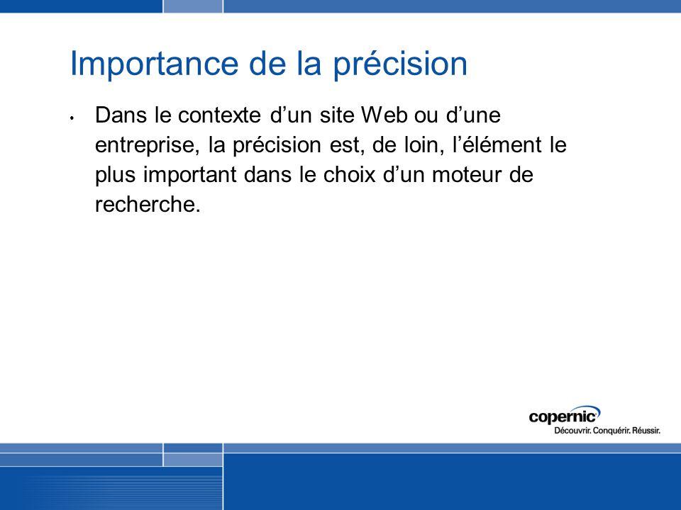 Importance de la précision Dans le contexte dun site Web ou dune entreprise, la précision est, de loin, lélément le plus important dans le choix dun moteur de recherche.