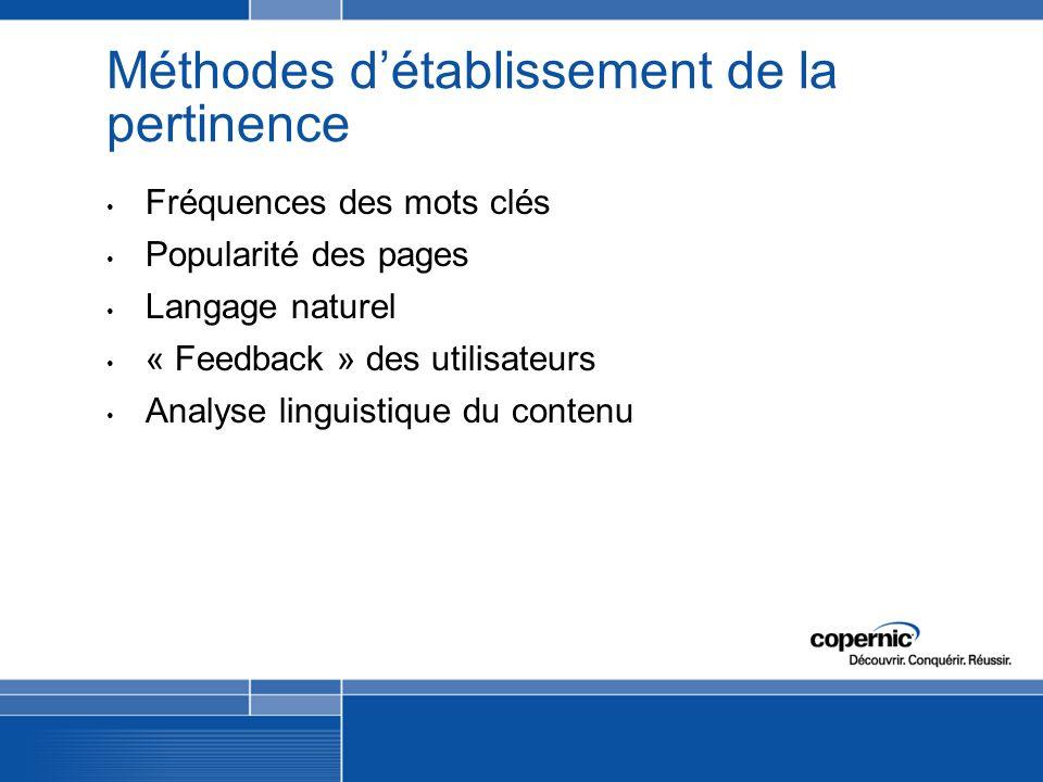 Méthodes détablissement de la pertinence Fréquences des mots clés Popularité des pages Langage naturel « Feedback » des utilisateurs Analyse linguistique du contenu