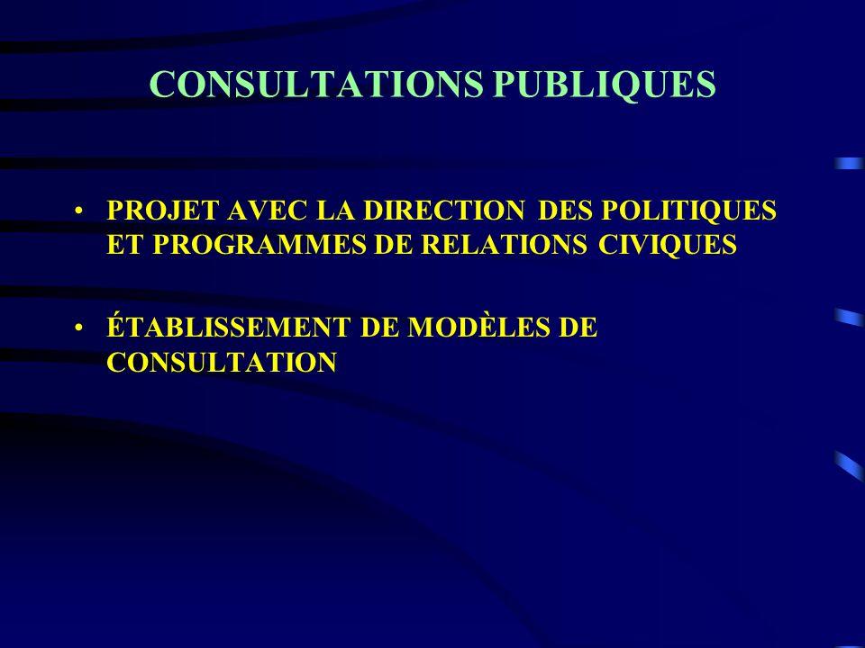 CONSULTATIONS PUBLIQUES PROJET AVEC LA DIRECTION DES POLITIQUES ET PROGRAMMES DE RELATIONS CIVIQUES ÉTABLISSEMENT DE MODÈLES DE CONSULTATION