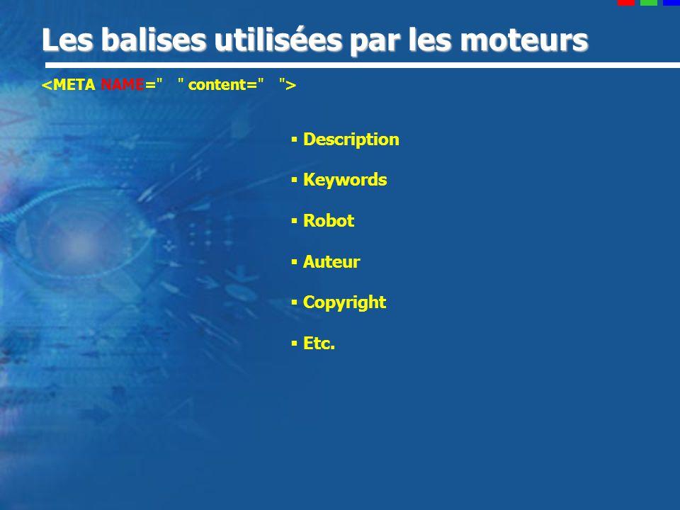 Les balises utilisées par les moteurs Description Keywords Robot Auteur Copyright Etc.