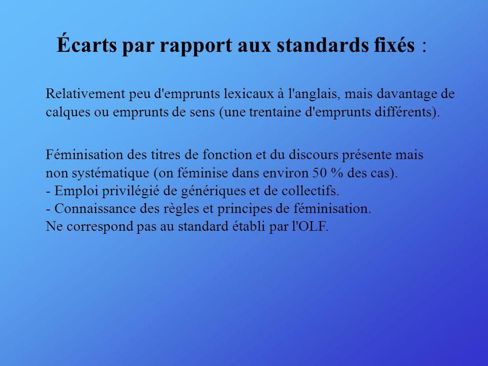 Écarts par rapport aux standards fixés : Relativement peu d emprunts lexicaux à l anglais, mais davantage de calques ou emprunts de sens (une trentaine d emprunts différents).
