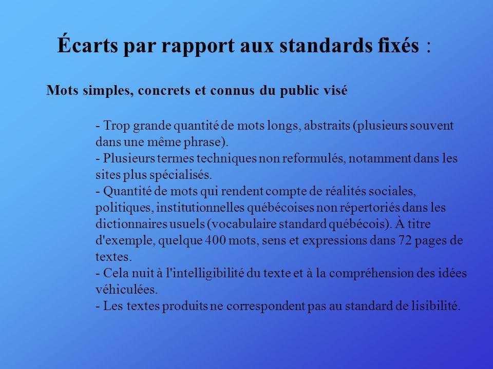 Écarts par rapport aux standards fixés : Mots simples, concrets et connus du public visé - Trop grande quantité de mots longs, abstraits (plusieurs souvent dans une même phrase).