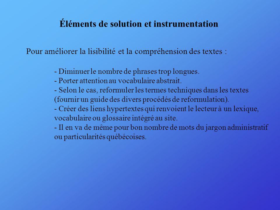 Éléments de solution et instrumentation Pour améliorer la lisibilité et la compréhension des textes : - Diminuer le nombre de phrases trop longues.