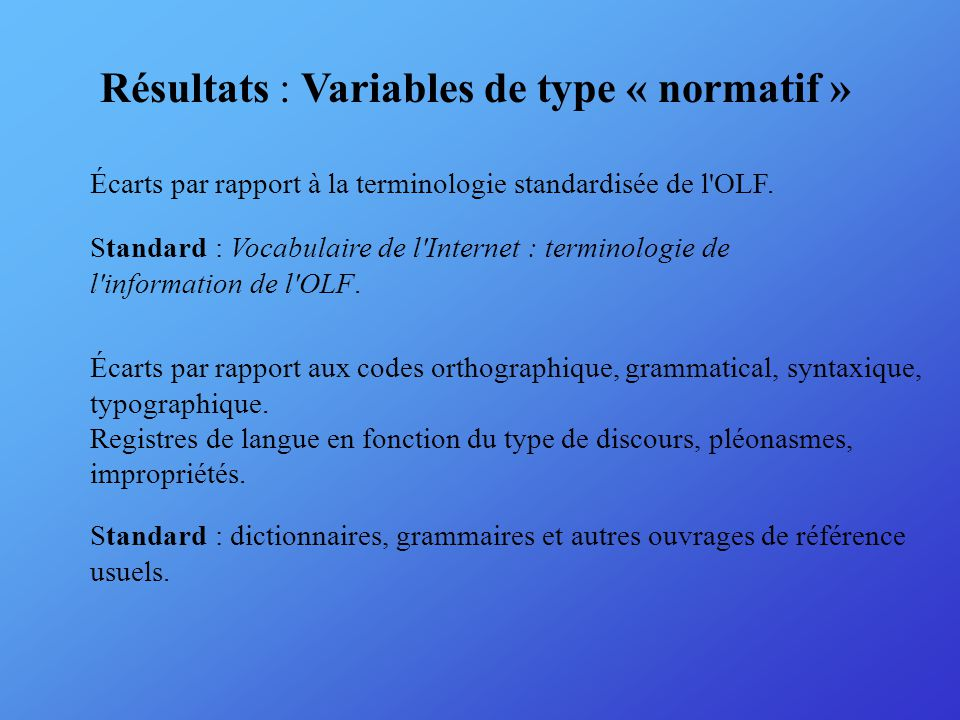 Résultats : Variables de type « normatif » Écarts par rapport à la terminologie standardisée de l OLF.