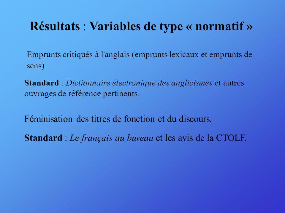 Écarts par rapport aux standards fixés : Dans l ensemble, les sites respectent la terminologie informatique de l OLF.