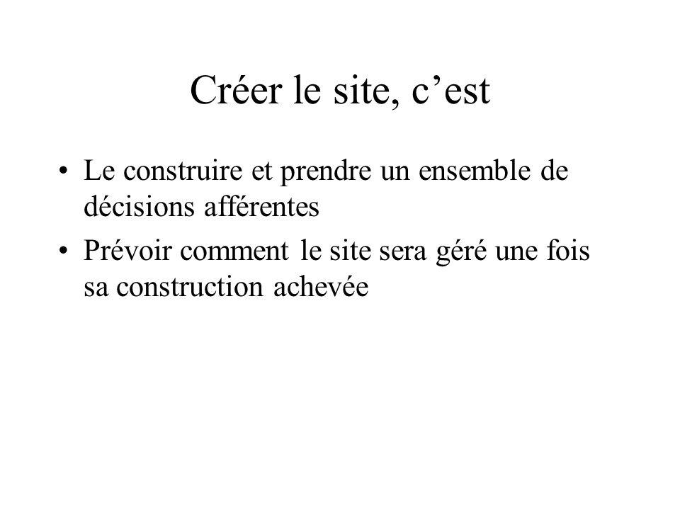 Créer le site, cest Le construire et prendre un ensemble de décisions afférentes Prévoir comment le site sera géré une fois sa construction achevée