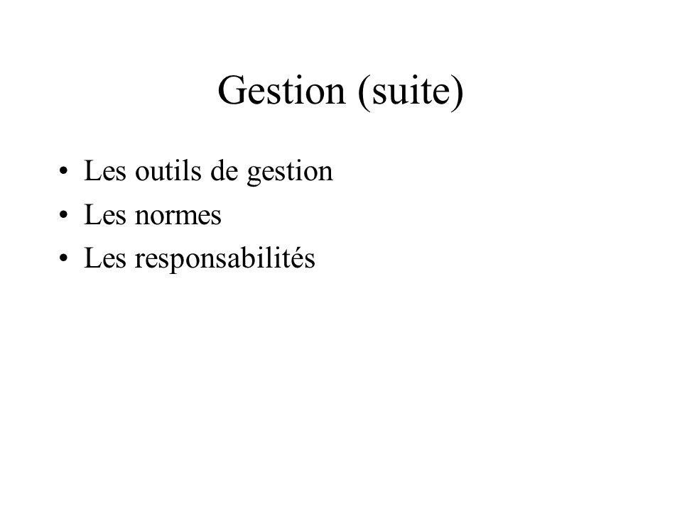 Gestion (suite) Les outils de gestion Les normes Les responsabilités
