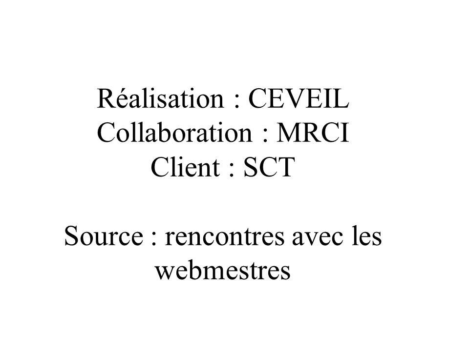 Réalisation : CEVEIL Collaboration : MRCI Client : SCT Source : rencontres avec les webmestres