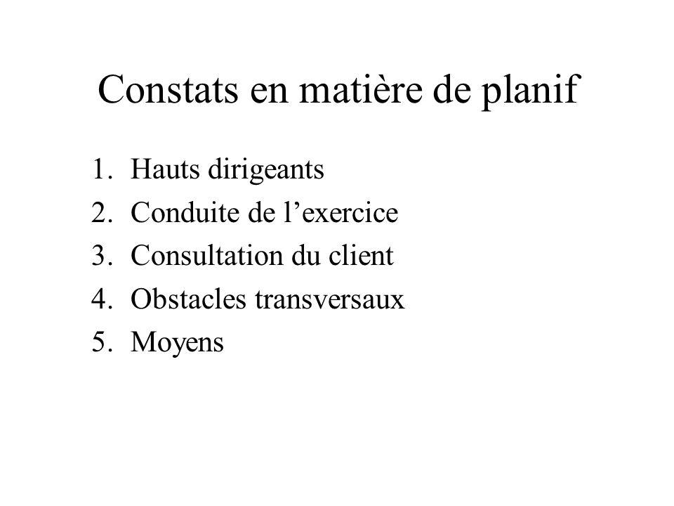 Constats en matière de planif 1.Hauts dirigeants 2.Conduite de lexercice 3.Consultation du client 4.Obstacles transversaux 5.Moyens