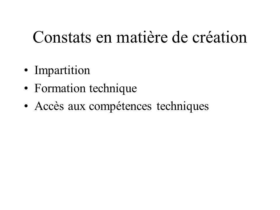 Constats en matière de création Impartition Formation technique Accès aux compétences techniques