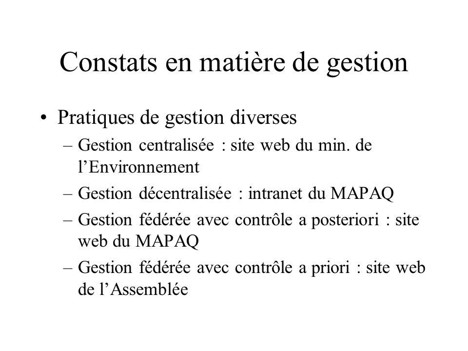 Constats en matière de gestion Pratiques de gestion diverses –Gestion centralisée : site web du min.