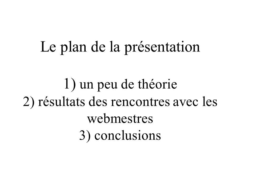 Le plan de la présentation 1) un peu de théorie 2) résultats des rencontres avec les webmestres 3) conclusions