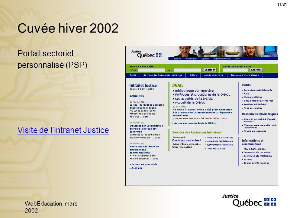 WebÉducation, mars 2002 11 Portail sectoriel personnalisé (PSP) Cuvée hiver 2002 Visite de lintranet Justice 11/21
