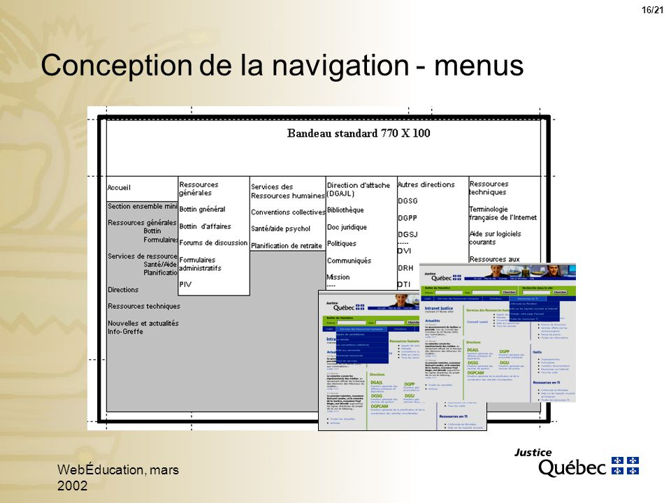 WebÉducation, mars 2002 16 Conception de la navigation - menus 16/21