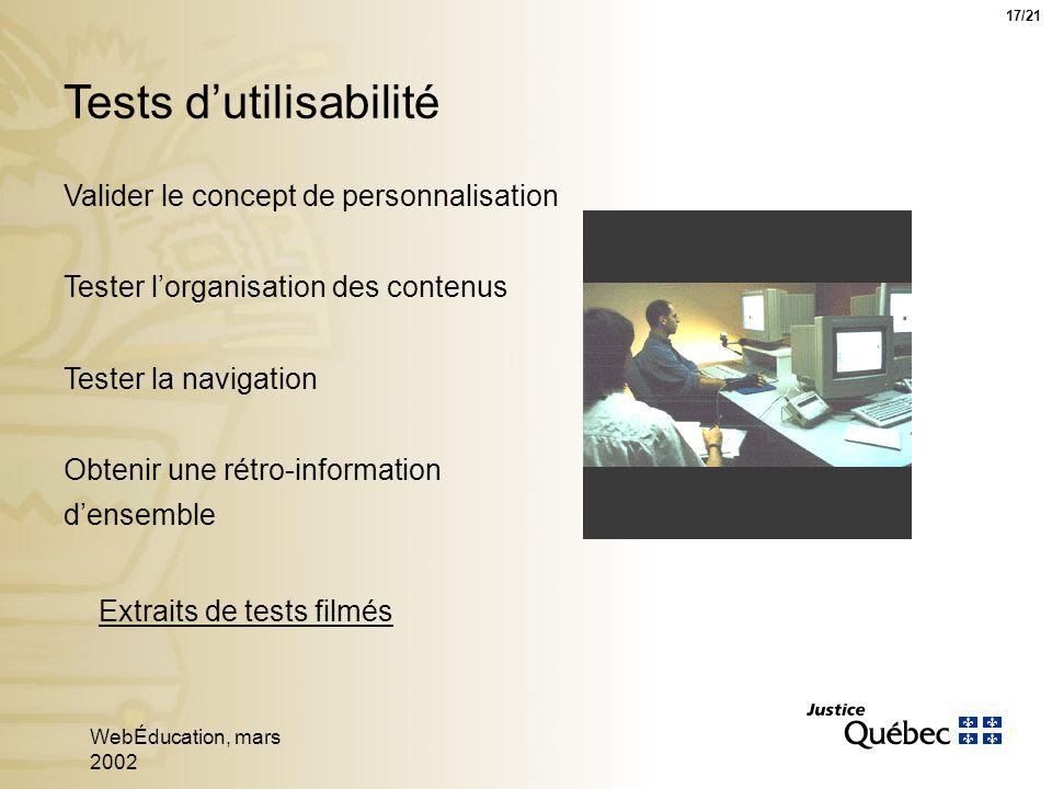 WebÉducation, mars 2002 17 Tests dutilisabilité Extraits de tests filmés 17/21 Valider le concept de personnalisation Tester lorganisation des contenus Tester la navigation Obtenir une rétro-information densemble
