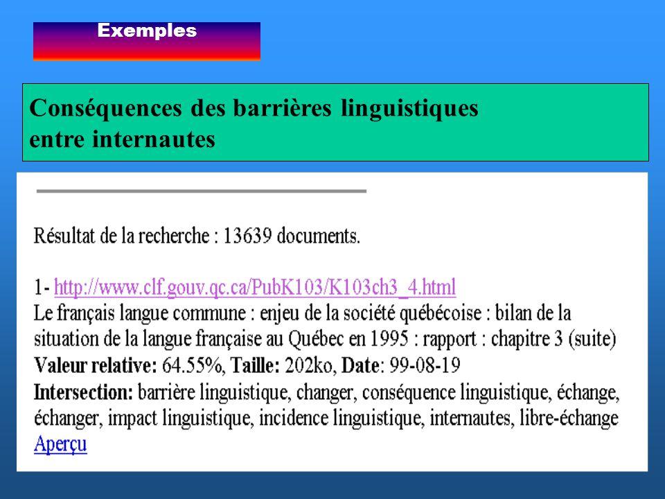 Conséquences des barrières linguistiques entre internautes Exemples