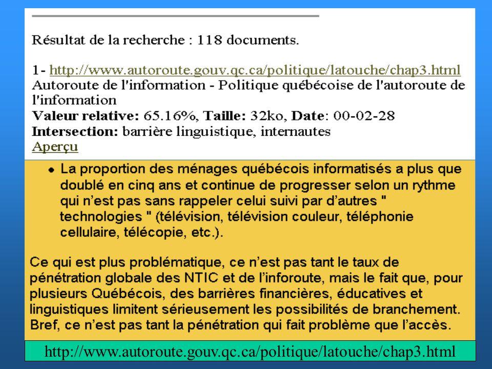 Ajout / Retrait durl - formulaires Modification des interfaces - envoie de fichiers Statistiques - écran de visualisation Fréquences d indexation Web Assistant (Sites Web en construction) Les modules dadministration et de gestion