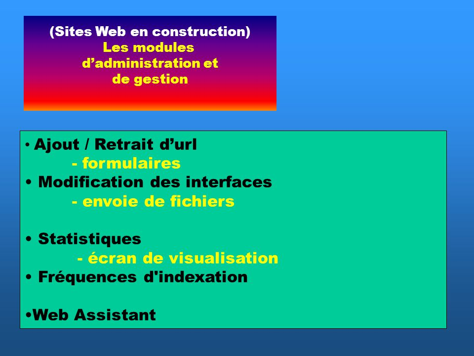 Ajout / Retrait durl - formulaires Modification des interfaces - envoie de fichiers Statistiques - écran de visualisation Fréquences d indexation Web Assistant (Sites Web en construction) Les modules dadministration et de gestion