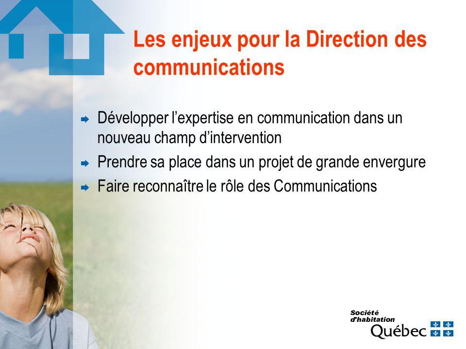 Les enjeux pour la Direction des communications Développer lexpertise en communication dans un nouveau champ dintervention Prendre sa place dans un projet de grande envergure Faire reconnaître le rôle des Communications