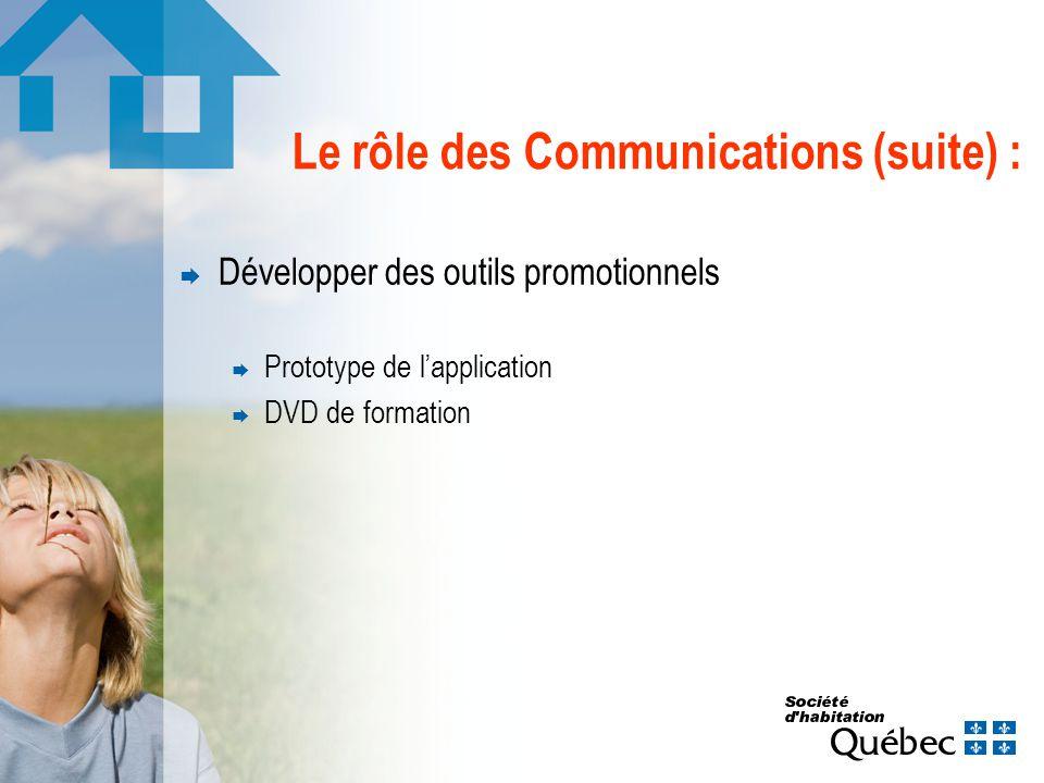 Le rôle des Communications (suite) : Développer des outils promotionnels Prototype de lapplication DVD de formation