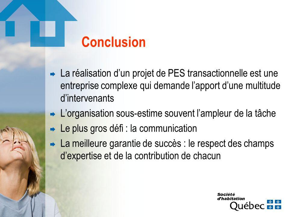 Conclusion La réalisation dun projet de PES transactionnelle est une entreprise complexe qui demande lapport dune multitude dintervenants Lorganisatio
