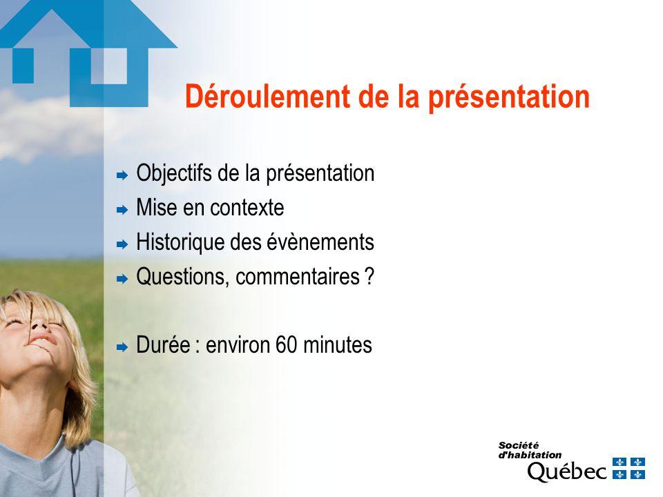 Déroulement de la présentation Objectifs de la présentation Mise en contexte Historique des évènements Questions, commentaires ? Durée : environ 60 mi
