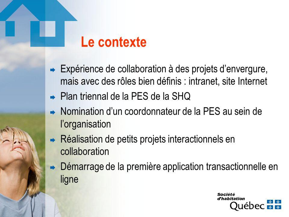Le contexte Expérience de collaboration à des projets denvergure, mais avec des rôles bien définis : intranet, site Internet Plan triennal de la PES d