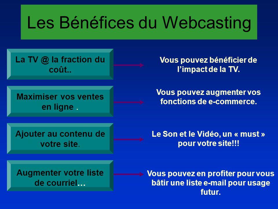 Les Bénéfices du Webcasting La TV @ la fraction du coût.. Vous pouvez bénéficier de limpact de la TV. Vous pouvez augmenter vos fonctions de e-commerc