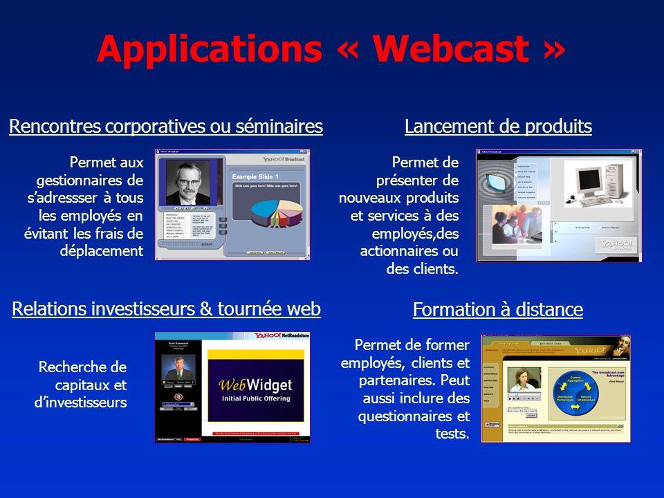 Applications « Webcast » Permet aux gestionnaires de sadressser à tous les employés en évitant les frais de déplacement Permet de présenter de nouveau