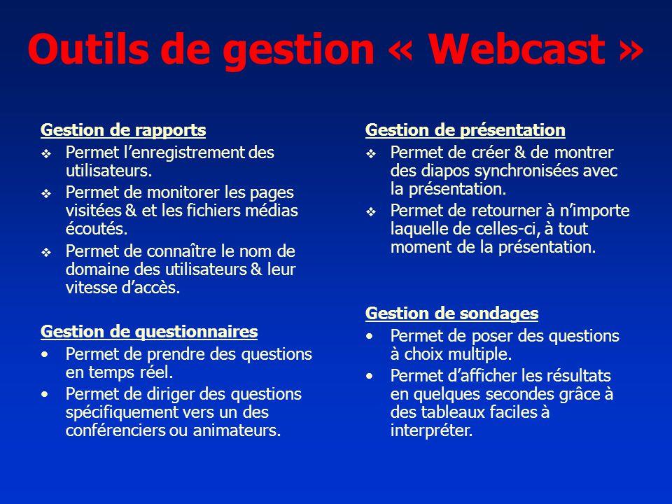 Outils de gestion « Webcast » Gestion de rapports Permet lenregistrement des utilisateurs. Permet de monitorer les pages visitées & et les fichiers mé