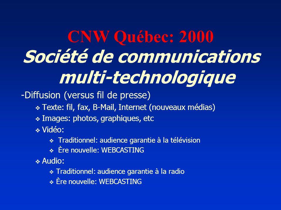 CNW Québec: 2000 Société de communications multi-technologique -Diffusion (versus fil de presse) Texte: fil, fax, B-Mail, Internet (nouveaux médias) I
