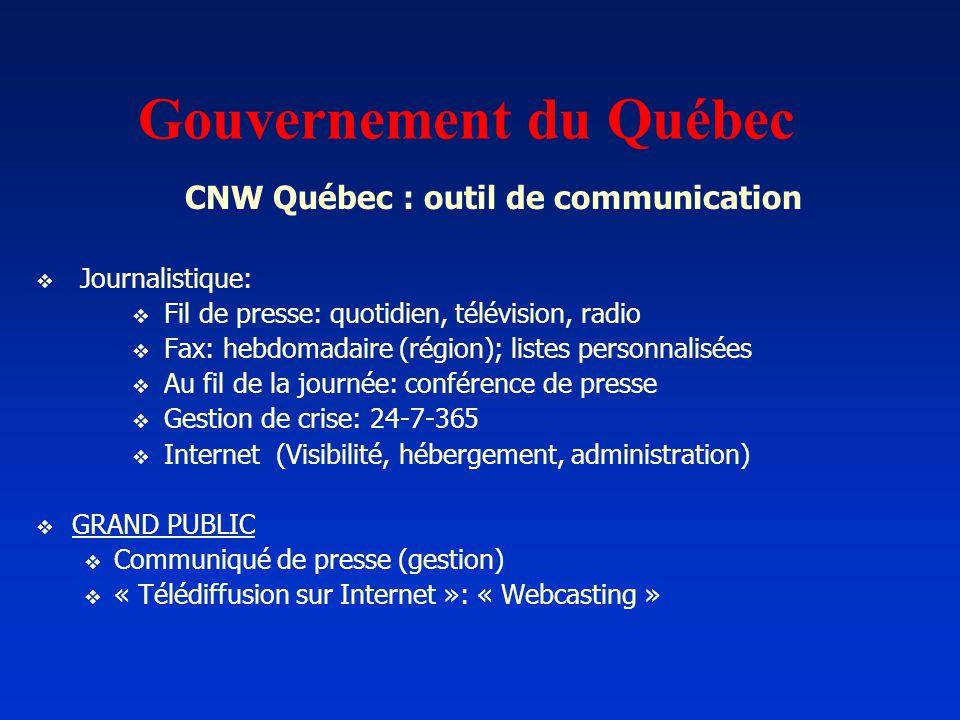 Gouvernement du Québec CNW Québec : outil de communication Journalistique: Fil de presse: quotidien, télévision, radio Fax: hebdomadaire (région); lis