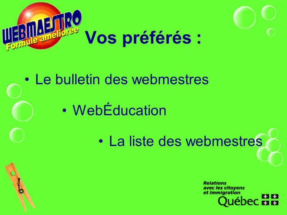 Vos préférés : Le bulletin des webmestres WebÉducation La liste des webmestres