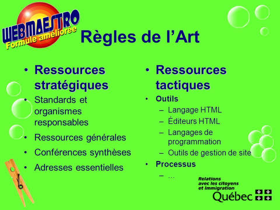 Règles de lArt Ressources stratégiquesRessources stratégiques Standards et organismes responsables Ressources générales Conférences synthèses Adresses