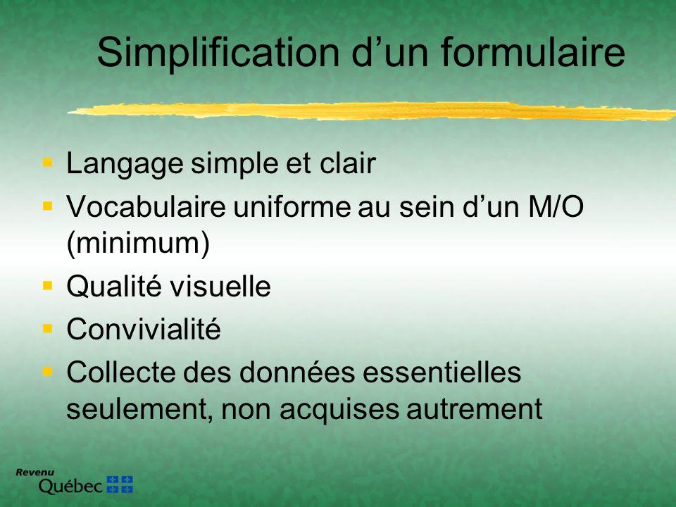 Langage simple et clair Vocabulaire uniforme au sein dun M/O (minimum) Qualité visuelle Convivialité Collecte des données essentielles seulement, non