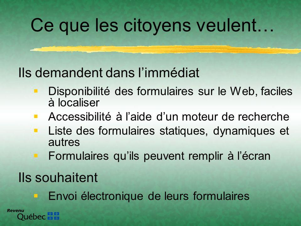 Ils demandent dans limmédiat Disponibilité des formulaires sur le Web, faciles à localiser Accessibilité à laide dun moteur de recherche Liste des for