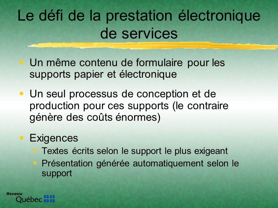 Un même contenu de formulaire pour les supports papier et électronique Un seul processus de conception et de production pour ces supports (le contrair