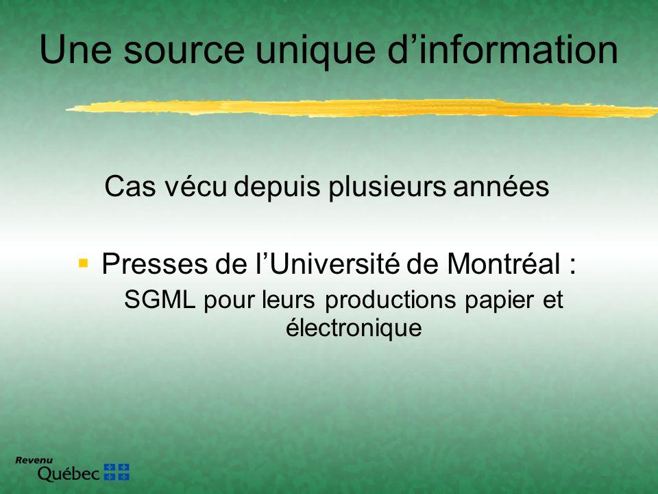 Cas vécu depuis plusieurs années Presses de lUniversité de Montréal : SGML pour leurs productions papier et électronique Une source unique dinformatio