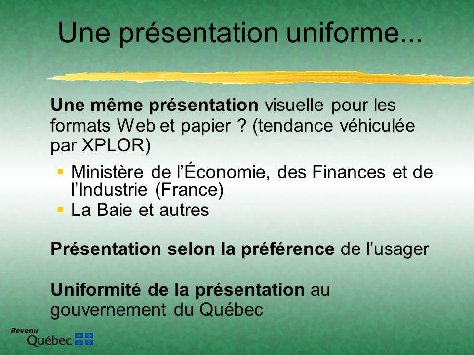 Une même présentation visuelle pour les formats Web et papier ? (tendance véhiculée par XPLOR) Ministère de lÉconomie, des Finances et de lIndustrie (