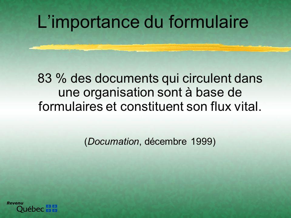 Limportance du formulaire 83 % des documents qui circulent dans une organisation sont à base de formulaires et constituent son flux vital. (Documation