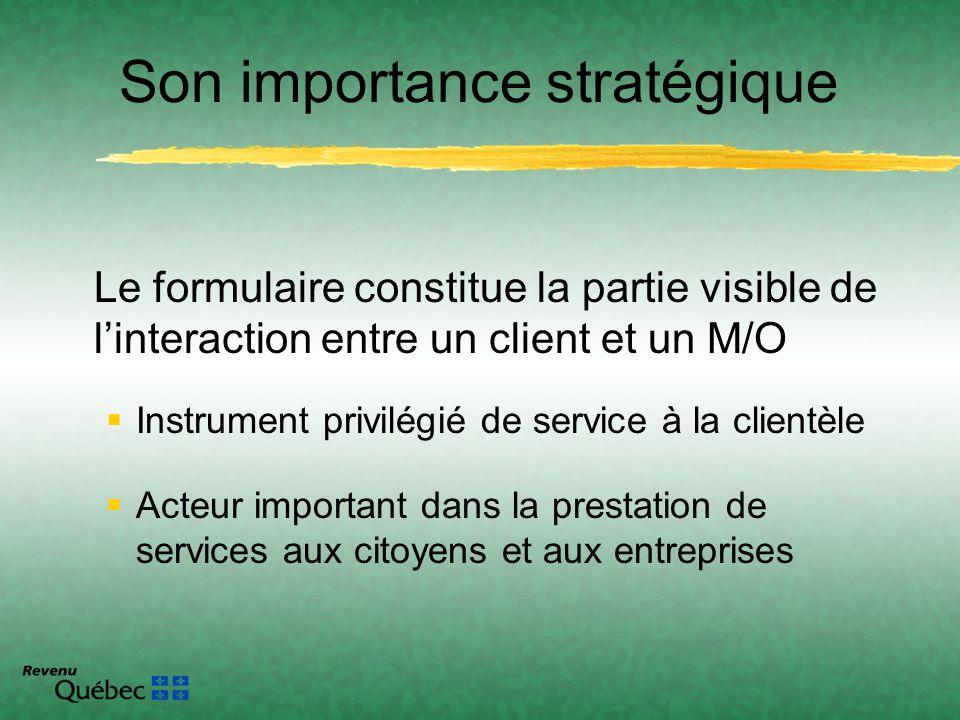 Le formulaire constitue la partie visible de linteraction entre un client et un M/O Instrument privilégié de service à la clientèle Acteur important d