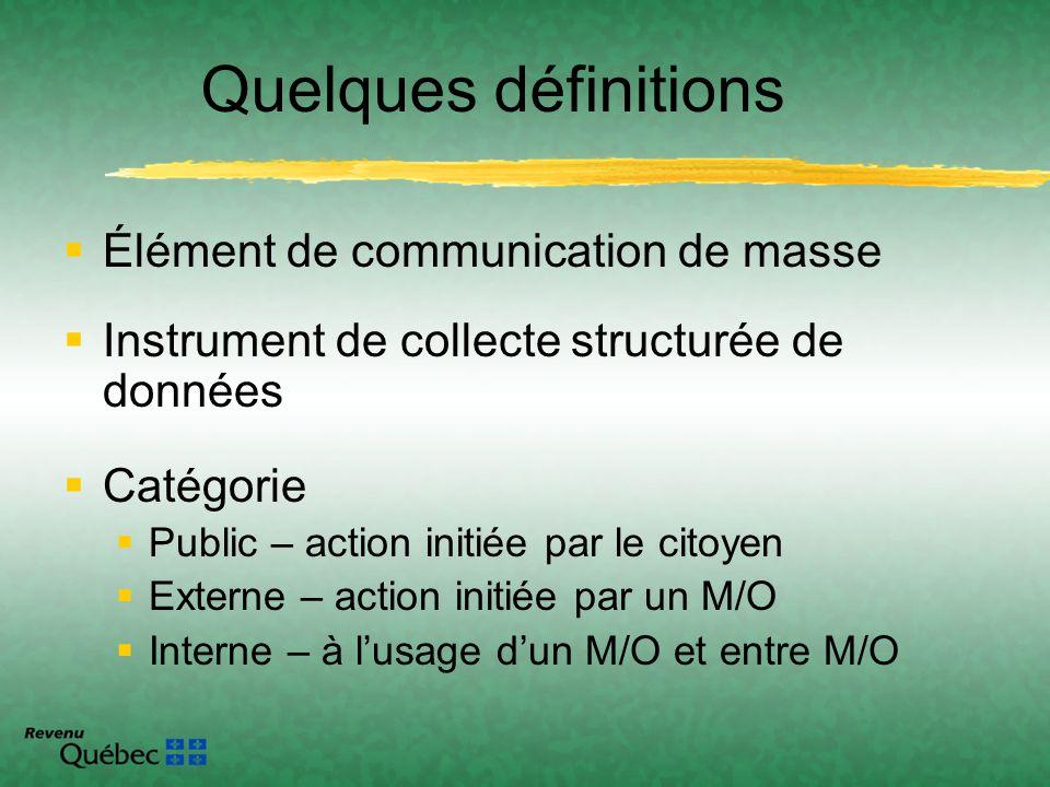 Quelques définitions Élément de communication de masse Instrument de collecte structurée de données Catégorie Public – action initiée par le citoyen E