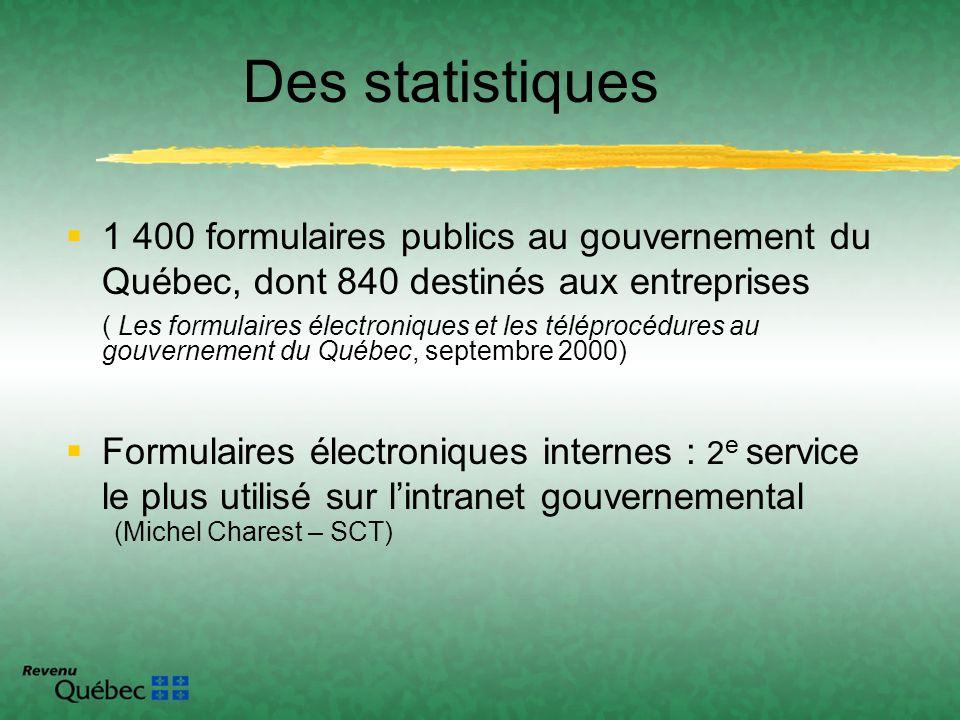 Des statistiques 1 400 formulaires publics au gouvernement du Québec, dont 840 destinés aux entreprises ( Les formulaires électroniques et les télépro