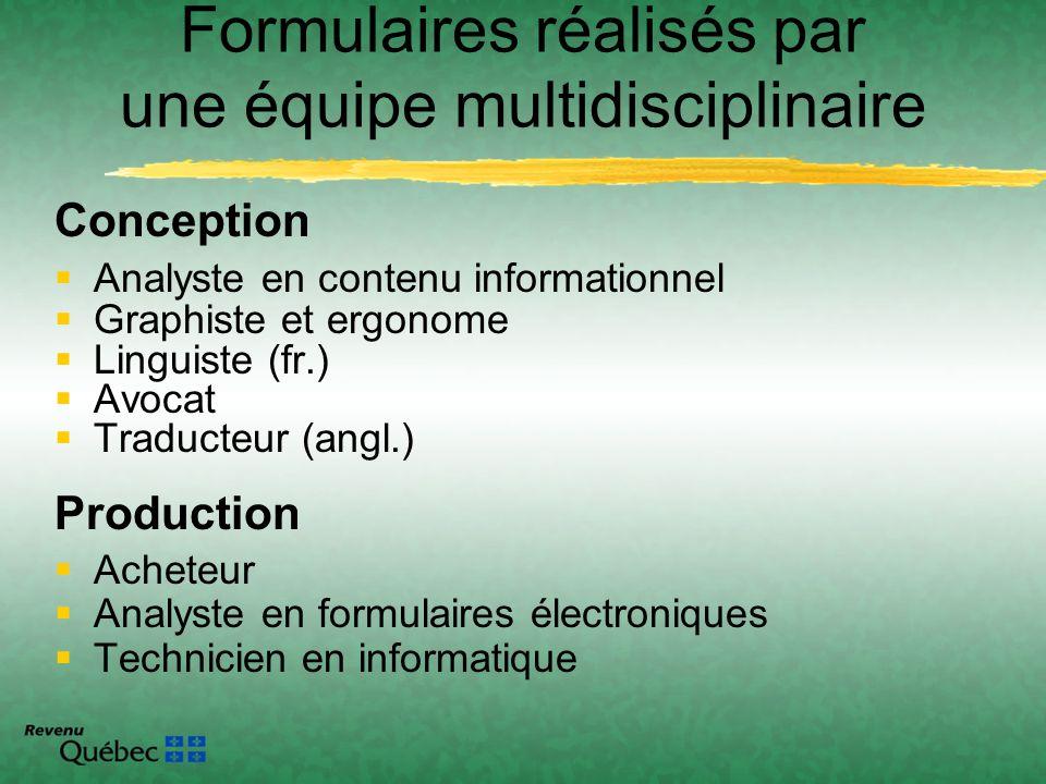 Formulaires réalisés par une équipe multidisciplinaire Conception Analyste en contenu informationnel Graphiste et ergonome Linguiste (fr.) Avocat Trad