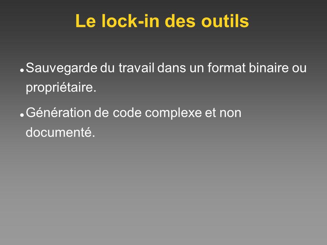 Le lock-in des outils Sauvegarde du travail dans un format binaire ou propriétaire. Génération de code complexe et non documenté.